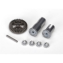 Metal Gear set, differential Latrax Models (output gears (2)/ spider gears (4))/ring gear, 35T/ 2x14.8mm pin (1)/ sleeve (2)