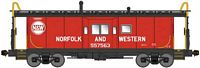 Bluford Shops N International Car Bay Window Caboose Phase 3 - Ready to Run -- Norfolk & Western 557578 (red, black, white, Hamburger Logo)