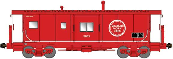 Bluford Shops N International Car Bay Window Caboose Phase 4 - Ready to Run -- Missouri Pacific 13702 (red, white, Buzz Saw Logo)
