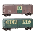 N Scale 40' Single-Door Boxcar 2-Pack - Ready to Run -- Reading 109019 (Boxcar Red), 109118 (green, yellow) Both Weathered