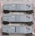N Scale, 50' Plug & Sliding Door Boxcar 3-Pack -- NS #s 1331, 1335 & 1339