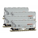 N Scale, ACF 39' 2-Bay Center-Flow Covered Hopper 4-Pack - Round Hatches - Ready to Run -- BNSF Railway 405410, 405415, 405428, 405437 (gray, orange, black, Wedge Logo