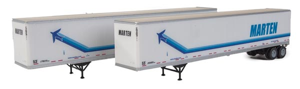 Walthers SceneMaster HO 53' Stoughton Trailer 2-Pack - Assembled -- Marten (white, blue)