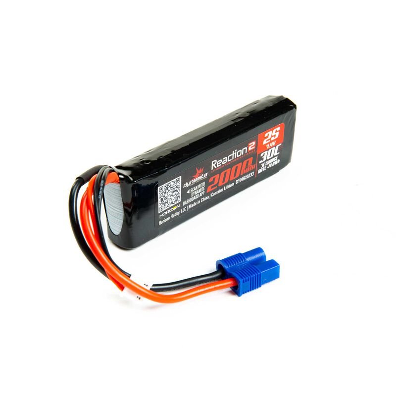 Dynamite 7.4V 2000mAh 2S 30C Reaction 2.0 LiPo Battery: EC3