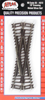 Atlas HO Code 83 Crossing - Nickel Silver w/Brown Ties -- 19 Degrees