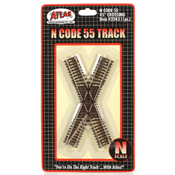 Code 55 Track w/Nickel-Silver Rail & Brown Ties -- 45-Degree Crossing