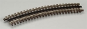 21st Century Track System(TM) Nickel Silver Rail w/Brown Ties - 3-Rail -- O45 Full Curved Section
