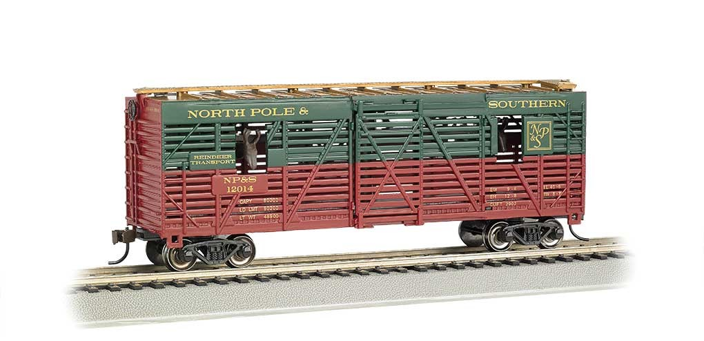 Bachmann HO 40' Animated Stock Car - Ready to Run - Silver Series(R) -- North Pole & Southern 12040 (Christmas Reindeer)