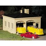Plasticville U.S.A.(R) Classic Kits -- Fire House w/Pumper Truck, Ladder Truck & Fire Chief Car