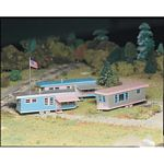 Plasticville U.S.A.(R) Classic Kits -- Trailer Park (Three Trailers & Flag Pole w/Flag)