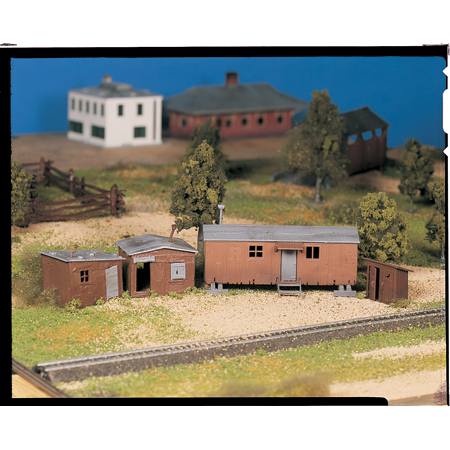Plasticville U.S.A.(R) Classic Kits -- Hobo Jungle (Two Shacks, Boxcar & Outhouse)