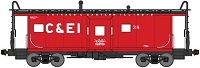 N Scale, International Car Bay Window Caboose Phase 2 - Ready to Run -- Chicago & Eastern Illinois 38 (red, black, white)