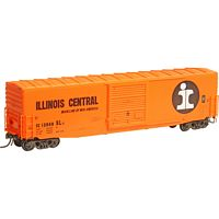 Pullman-Standard PS-1 50' Boxcar w/10' Door - Ready to Run -- Illinois Central 12068 (orange, black, white, Large I Rail Logo)