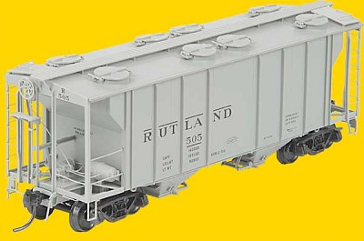 PS-2 Two-Bay Covered Hopper w/Scale Coupler; Channel Ribs, Tube Defect Holde -- Rutland #505 (Alkali Resisting Light Gray)