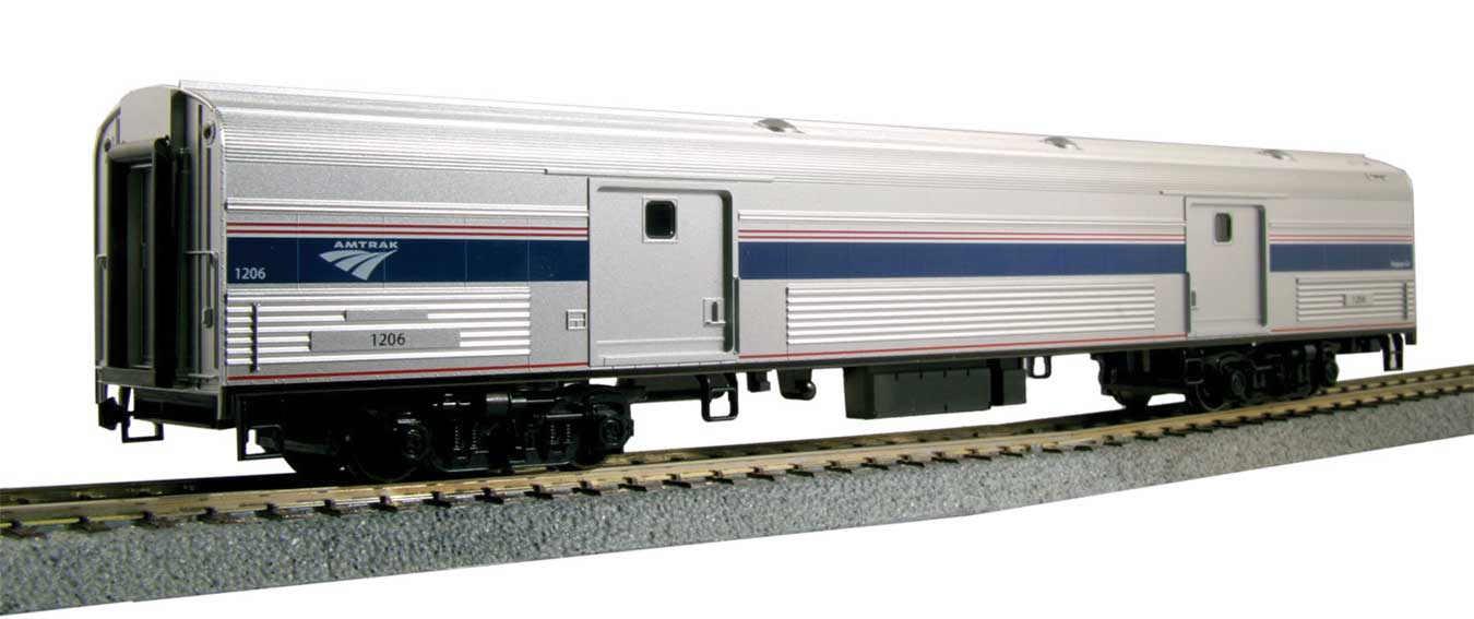 Kato HO Budd 73' Fluted-Side Baggage Car, Lighted - Ready to Run -- Amtrak #1249 (Phase IV; silver, blue, gray, red)