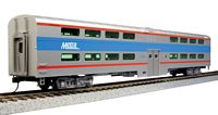 HO Pullman Bi-Level 4-Window Coach - Ready to Run -- Chicago Metra #7780 (silver, blue, red)