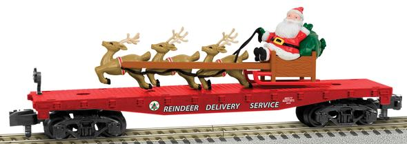 Flatcar w/Santa's Sleigh Load - Ready to Run - American Flyer(R) -- Reindeer Delivery Service #48572 (Christmas,red, white)