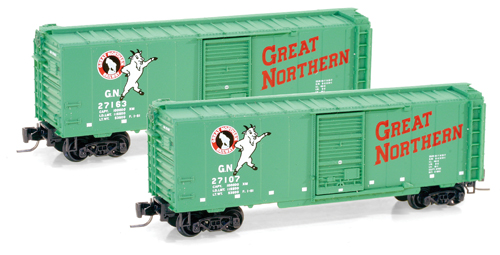 Z Scale PS 40' Standard Boxcar, Single Youngstown Door -- Great Northern #27107 (Glacier Green, white, red, black Herald, white Letter