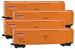 50' Plug-Door Boxcar 4-Car Runner Pack - Ready to Run -- Denver & Rio Grande Western #50809, 50835, 50852, 50867 (NITX Lease, orange)