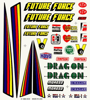 Dry Transfer Decals, Drag Racer