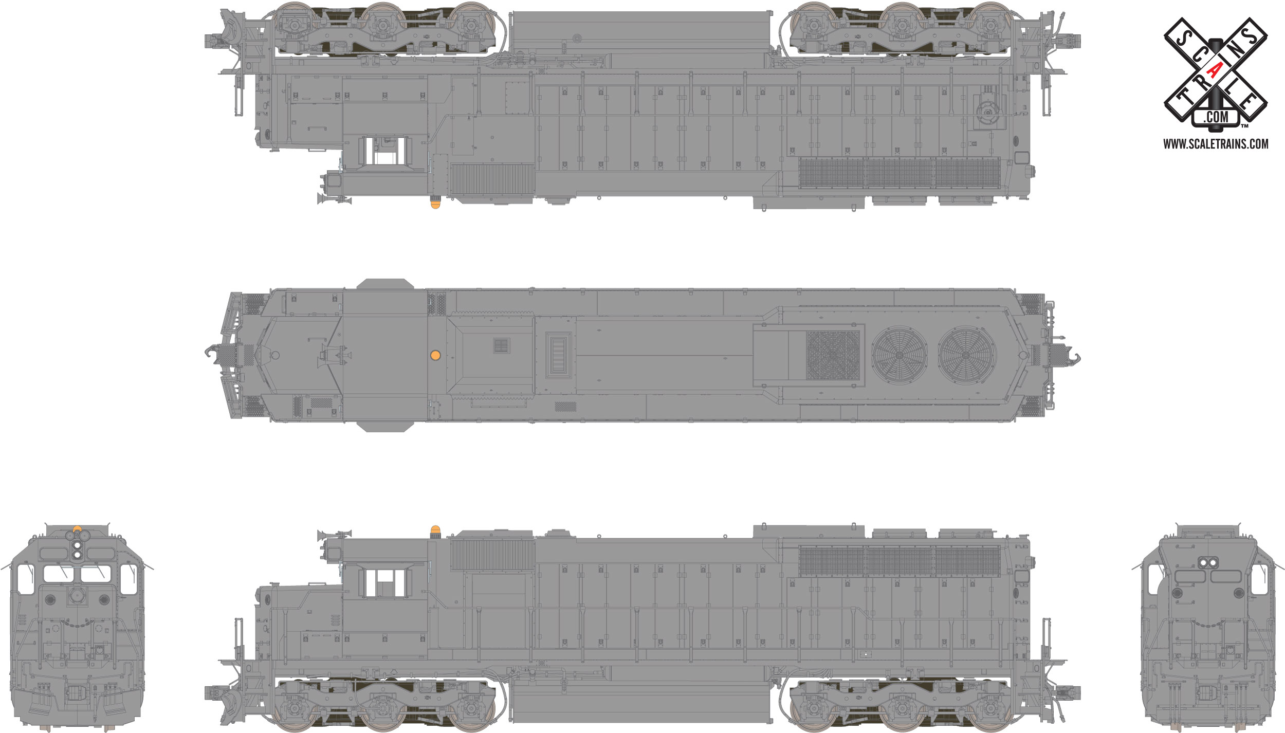 Rivet Counter HO Scale EMD SD45, Undecorated (R1), Chicago & NorthWestern/DCC & Sound Equipped