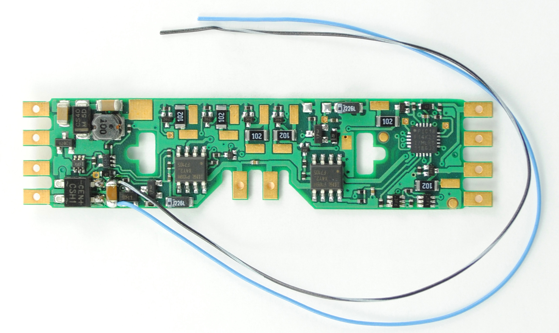 A4X-KA 4-Function Drop-In DCC Decoder w/TCS Keep Alive Wires - Control Only -- With Extra blue, black/white Wires Fits Atlas & Others w/Tab-Connections