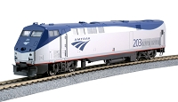 Kato HO GE P42 Genesis - Standard DC -- Amtrak #203 (Phase Vb Late, silver, blue, red)