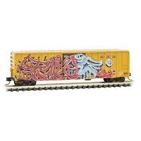 Micor-Trains N Scale 50' Rib-Side Single-Door Boxcar No Roofwalk - Ready to Run -- Railbox 30377 (Weathered, yellow, black, Tattoo Day Graffiti, Series Car 7)