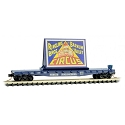 N 50' Fishbelly-Side Flatcar with Side-Mount Brake Wheel - Ready to Run -- Ringling Bros.(R) Clown Billboard Series Car RBBX #78