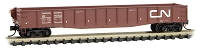 Micro-Trains N Scale 50' Gondola with Fishbelly Sides & Drop-Ends - Ready to Run -- Canadian National 143722 (Boxcar Red, white, Noodle Logo)