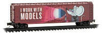 Micro-Trains N 50' Plug-Door Boxcar - Ready to Run -- Valentines Day 2021 (red, pink, Micro Mouse I Work with Models)