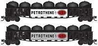 N Scale,  50' Composite Gondola with Fishbelly Sides, Load 2-Pack - Ready to Run -- Petrothene ODTX 1115, 1116 (black, white, red, Large Signboard)