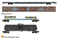 N Scale 89' Flat-Deck Flatcar, 50' Flat, Pipe Load, 56' GS Tank Car - Ready to Run -- NASA
