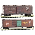 N 40' and 50' Boxcar Set - Ready to Run -- Pennsylvania Railroad 24095, 88407 (Weathered, Tuscan)