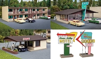 Walthers Cornerstone HO Vintage Motor Hotel with Office and Restaurant