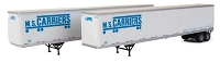 Walthers SceneMaster HO 53' Stoughton Trailer 2-Pack - Assembled -- MS Carriers (white, blue)