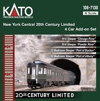 Kato N 20th Century Limited 4-Add-On 10-6 and 12BR Sleeper Set - Ready to Run -- New York Central (Late 1940s 2-Tone Gray)