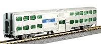 Kato N Scale Nippon-Sharyo Gallery Bi-Level Commuter Coach - Ready to Run -- Metra Chicago 6192 (silver, blue)