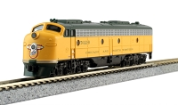 Kato N Scale EMD E8A, Dual Headlight, Blanked Numberboards - w/DCC -- Chicago & North Western 5022-B (yellow, green)