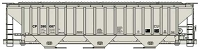 Accurail HO Pullman-Standard 4750 3-Bay Covered Hopper - Kit -- Canadian Pacific 390087 (gray, Reporing Marks Only)