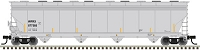 Atlas HO ACF 5800 4-Bay Plastics Covered Hopper - Ready to Run - Master(TM) -- Wells Fargo Rail WFRX 880102 (gray, black, yellow)