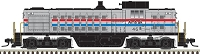 Atlas N Alco RS1 - Standard DC - Classic -- Amtrak #46 (Phase III, silver, equal red, white, blue Stripes)