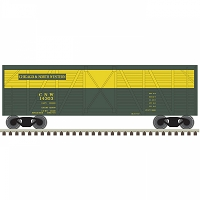 Atlas N 40' Steel Stock Car - Ready to Run -- Chicago & North Western 14303 (green, yellow)