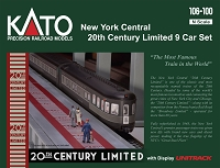 Kato N 20th Century Limited 9-Car Lighted Set - Ready to Run -- New York Central (Late 1940s 2-Tone Gray)