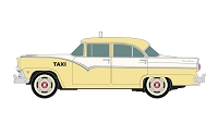 Classic Metal Works HO 1955 Ford 4-Door Sedan - Assembled -- Taxi (white, yellow)
