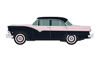 Classic Metal Works HO 1955 Ford 4-Door Sedan - Assembled -- Coral Mist, Black