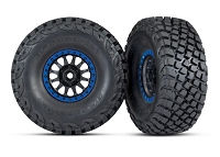 Traxxas 8474X Tires and wheels, assembled, glued (Method Racing wheels, black with blue beadlock, BFGoodrich® Baja KR3 tires) (2)
