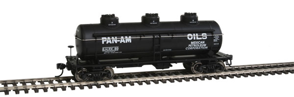 36' 3-Dome Tank Car - Ready to Run -- Pan Am Oils SHPX #89 (black, Large Lettering)