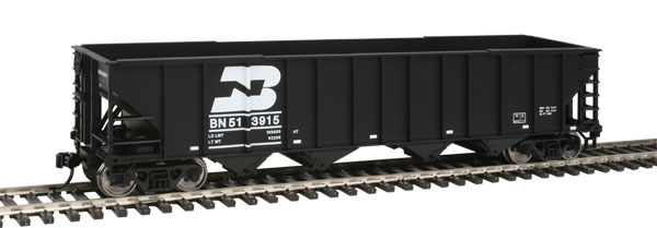 50' 100-Ton 4-Bay Hopper - Ready to Run -- Burlington Northern #513915 (black, white; Later Medium Logo Over Car Number)