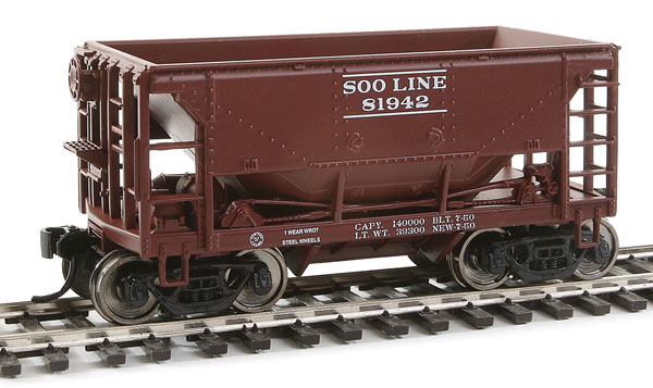24' Minnesota Ore Car 6-Pack - Ready to Run -- Soo Line Set #2 (Boxcar Red, white)